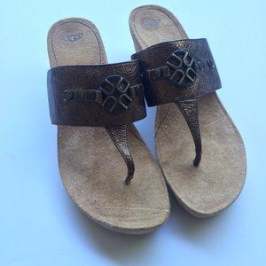 7a21ff74f1c [ Ugg ] Briella Pony Brown Thong Cork Wedge Sandal NWT